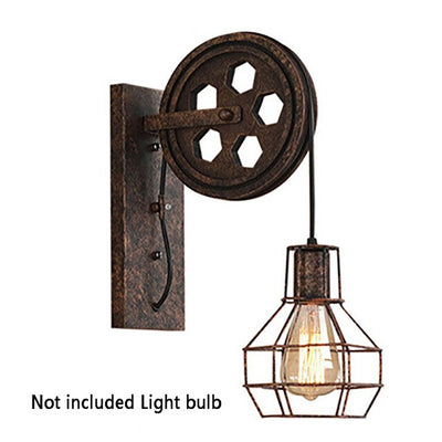 Rustic Wall Lamp Corridor Lantern Fixtures Iron Loft Indoor Lighting Retro Industrial Cafe E27 Lifting Pulley Home Sconce Light