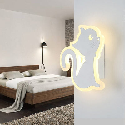 Creative Acrylic LED Wall Light Cartoon Deer Cat Kids Night Light Sconce Wandlamp Modern Bedroom Bedside Lamp Restaurante Lights