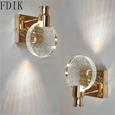 Modern Crystal Led Wall Lamp Simple Lights for Home Living Room Bedroom Stairs Bathroom Decoration Nordic Round Mirror Light