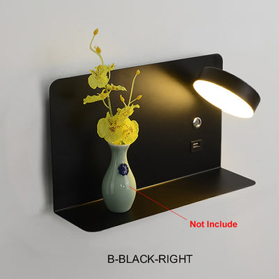 Pragmatism LED Wall Lamp Bedside Shelf USB Phone Charger Modern Bedroom Reading Light Hotel Wall Lights 3Color Switchable