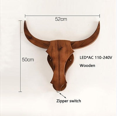 Loft Industrial retro wood cow animal style wall lamps LED sconce wall lights modern for living room bedroom restaurant bar