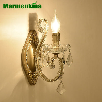 American style wall lamp bedside bedroom study aisle stairs balcony simple iron retro crystal candle wall light E14 AC110-240V