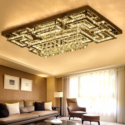 Luxury led fixtures drawing crystal ceiling light