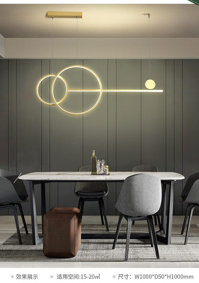 Gold Black white LED Rings Hanging Lamp
