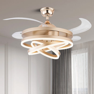 Nordic LED ceiling fan with remote control lamps for living room