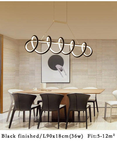 Black&White Modern LED Pendant Light For Living Room