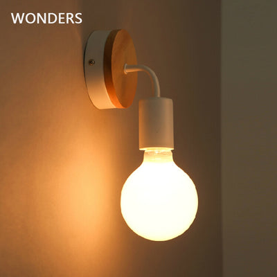Modern Northern Europe Vintage Wood Metal wall Lamp Industrial Indoor Lighting Bedside Lamps LED Wall Industrial Indoor light