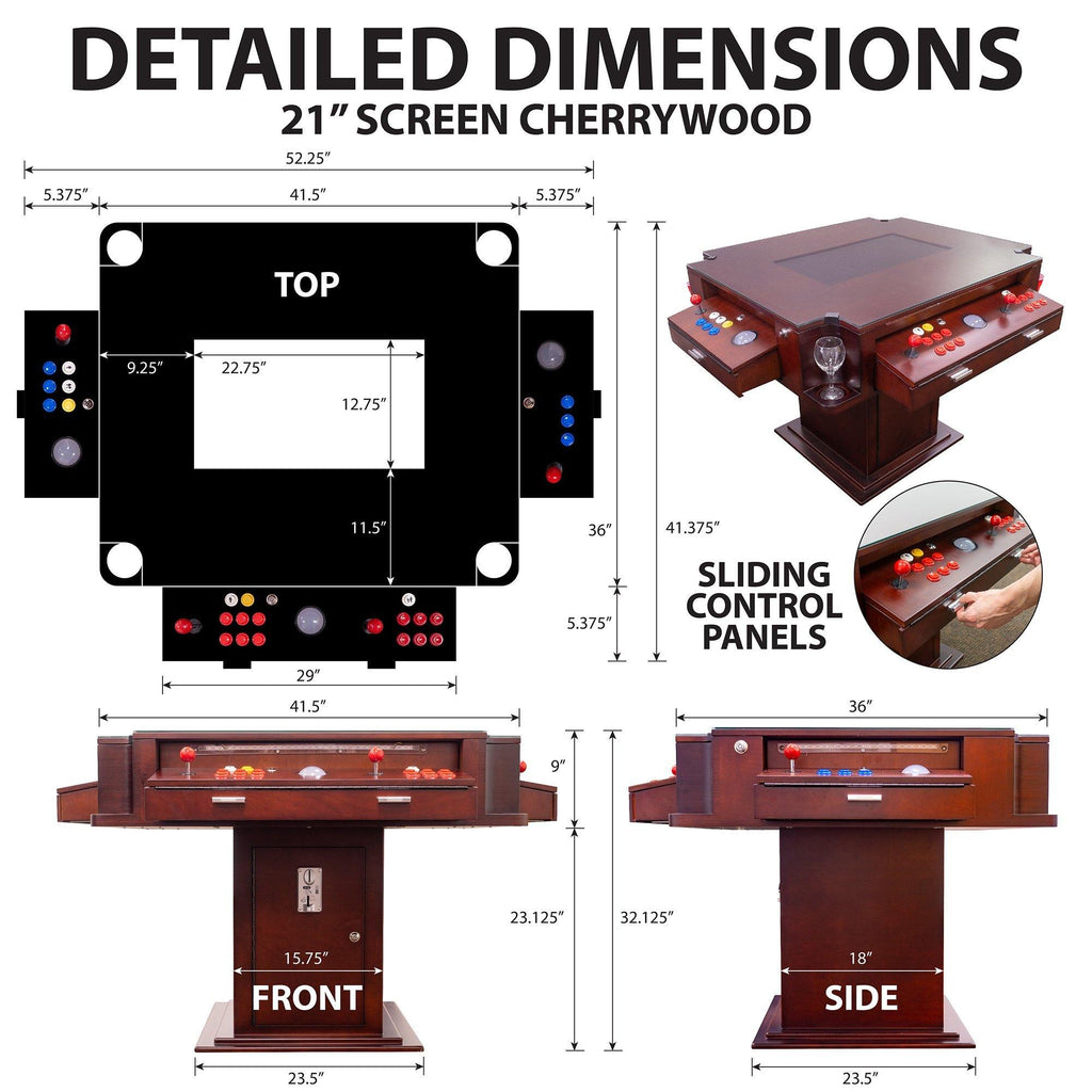 "2 PLAYER 1162 GAMES 3-SIDED ELEGANT SERIES COCKTAIL ARCADE TABLE 26"" LCD MONITOR - The Classic Arcades"