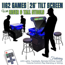 "Load image into Gallery viewer, 2P 1162 Games 26"" TILT Cocktail with Riser, Tall Stools, LED Lights, and Dimmer Switch"