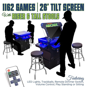 "2P 1162 Games 26"" TILT Cocktail with Riser, Tall Stools, LED Lights, and Dimmer Switch"