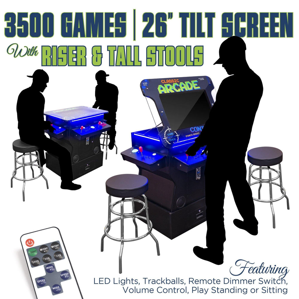 "2P 3500 Games 26"" TILT Cocktail with Riser, Tall Stools, LED Lights, and Dimmer Switch"