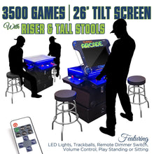 "Load image into Gallery viewer, 2P 3500 Games 26"" TILT Cocktail with Riser, Tall Stools, LED Lights, and Dimmer Switch"