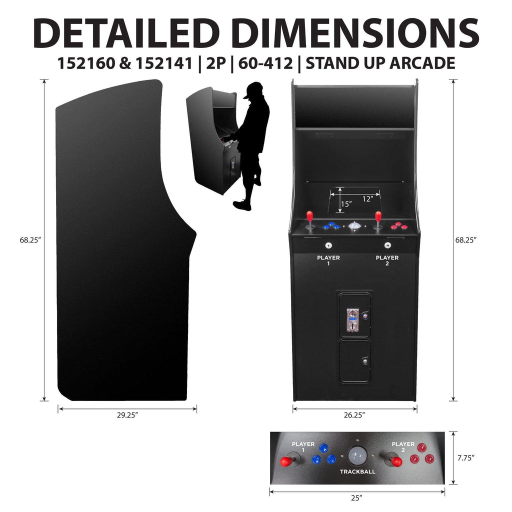 2 Player Stand-Up Classic Arcade Cabinet dimensions