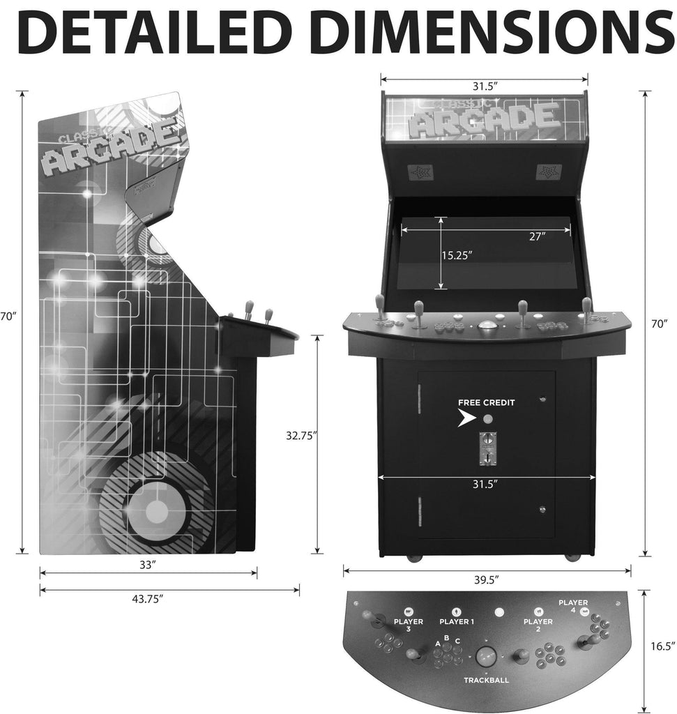 4 Player Classic Arcade Cabinet Machine Dimensions