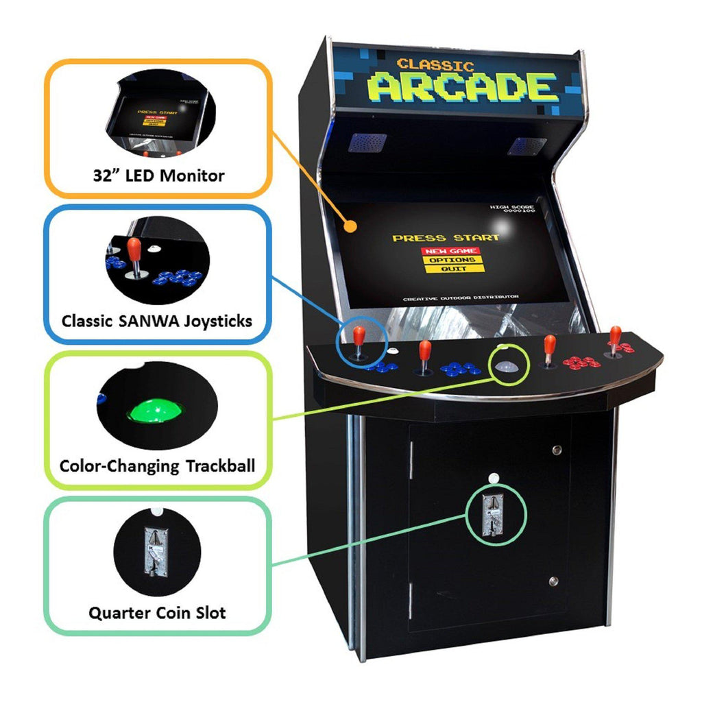 "4 Player Stand-Up Arcade Machine with 32"" LCD Monitor, Trackball and 2 Tall Stools"