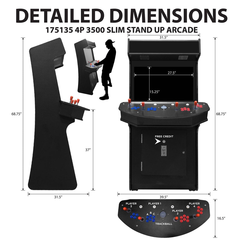4 player man cave arcade cabinet dimensions