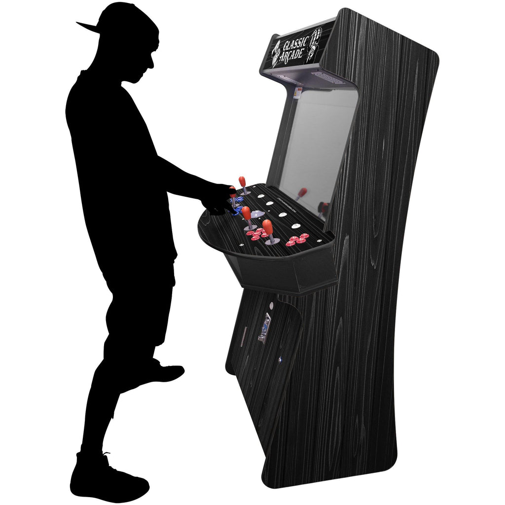 4 Player Arcade Cabinet  | 32 Inch LCD | 3500-4500 Games | Slim Wood Grain - The Classic Arcades