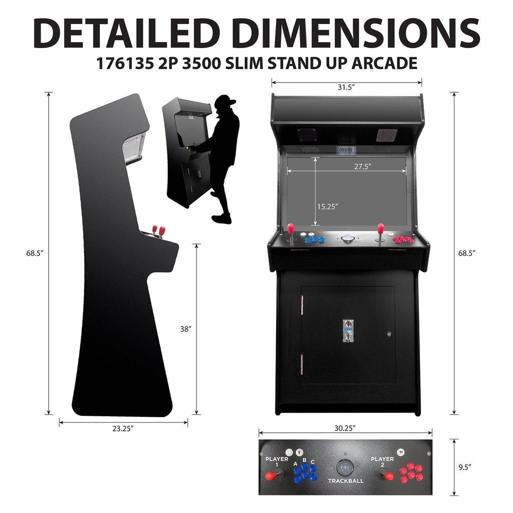 "2 Player Slim Stand-Up Arcade | 3500-4500 Games | 32"" LCD Woodgrain Color"