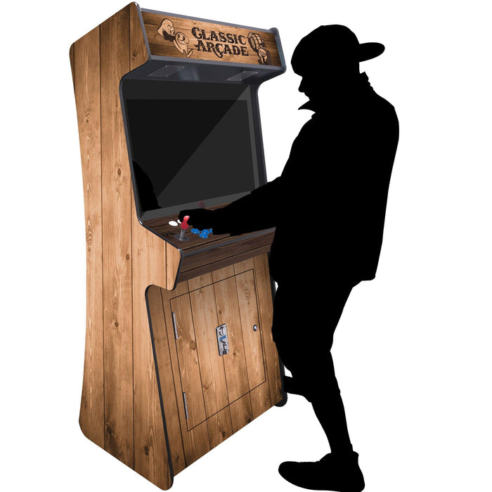 "2 Player Slim Stand-Up Arcade | 3500-4500 Games | 32"" LCD Woodgrain Color - The Classic Arcades"
