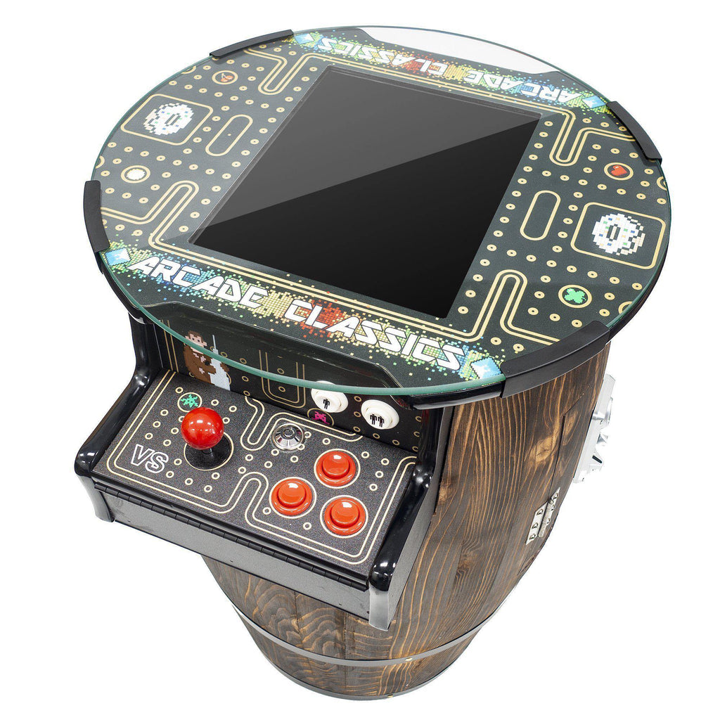 "2 Player Short Wine Barrel Arcade | 15"" LCD Screen 