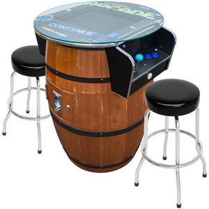 "2 Player 39""H Barrel Style Pub Table Arcade Machine with 19"" LCD Monitor and 2 Tall Stools Creative Arcades"