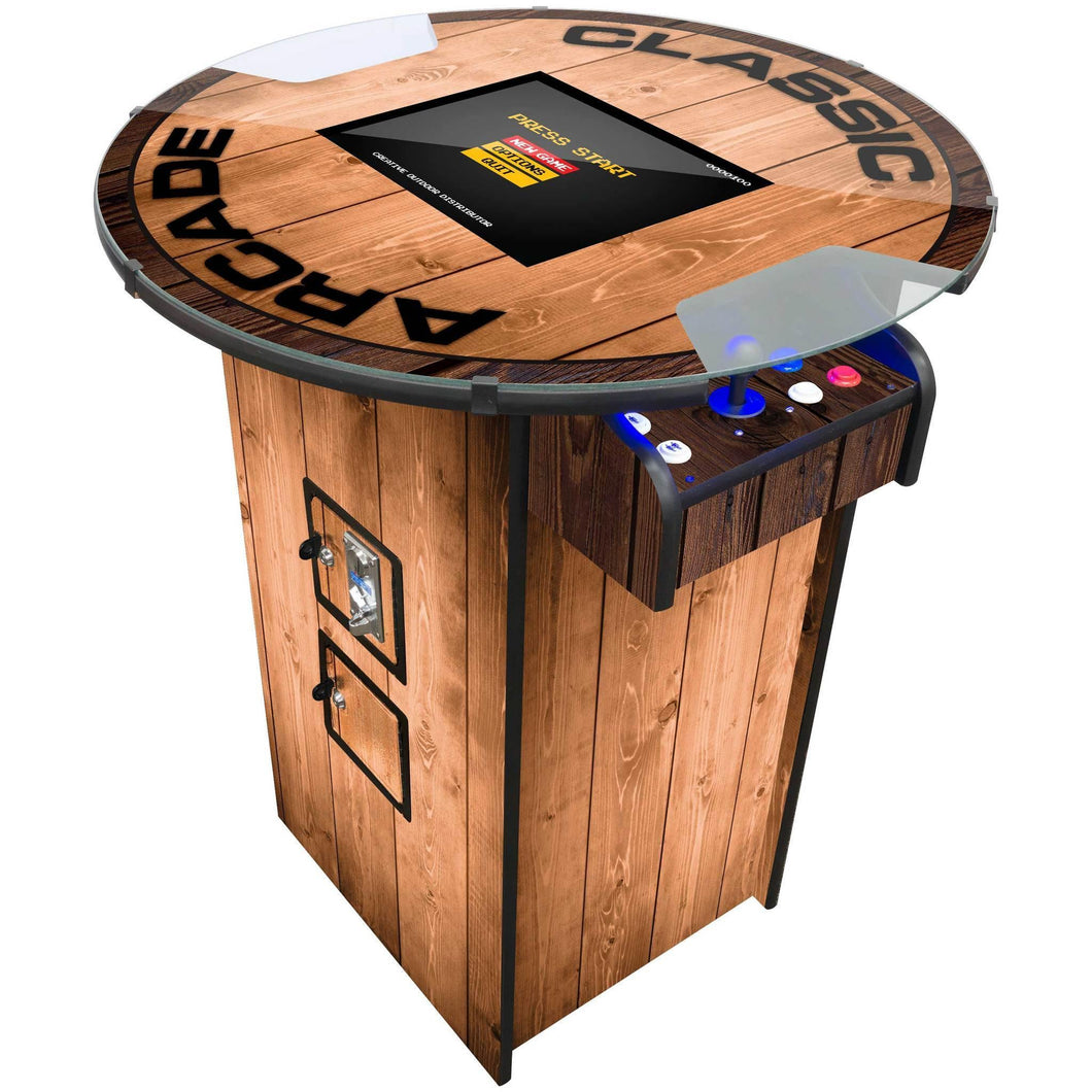woodgrain pub table arcade