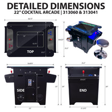 Load image into Gallery viewer, 60 in 1 Arcade Cocktail Table Machine Dimensions
