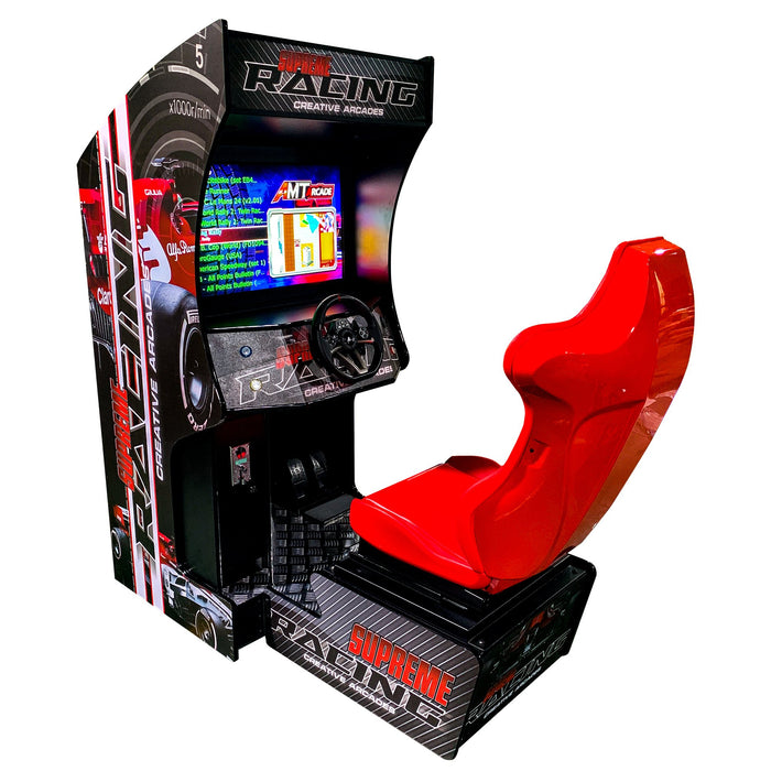 "SIT DOWN RACING ARCADE MACHINE | 129 RACING GAMES | 32"" LCD MONITOR 
