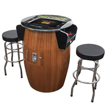 "Load image into Gallery viewer, 2 Player 39""H Barrel Style Pub Table Arcade Machine with 19"" LCD Monitor and 2 Tall Stools Creative Arcades"