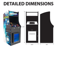Load image into Gallery viewer, 2 Player Stand-Up Arcade Machine with Built-In Refrigerator dimensions