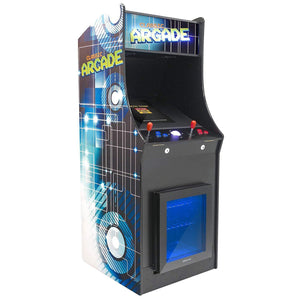 2 Player Stand-Up Arcade Cabinet Machine with Built-In Refrigerator