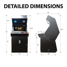 Load image into Gallery viewer, 2 Player Classic Stand-Up Arcade Cabinet Dimensions
