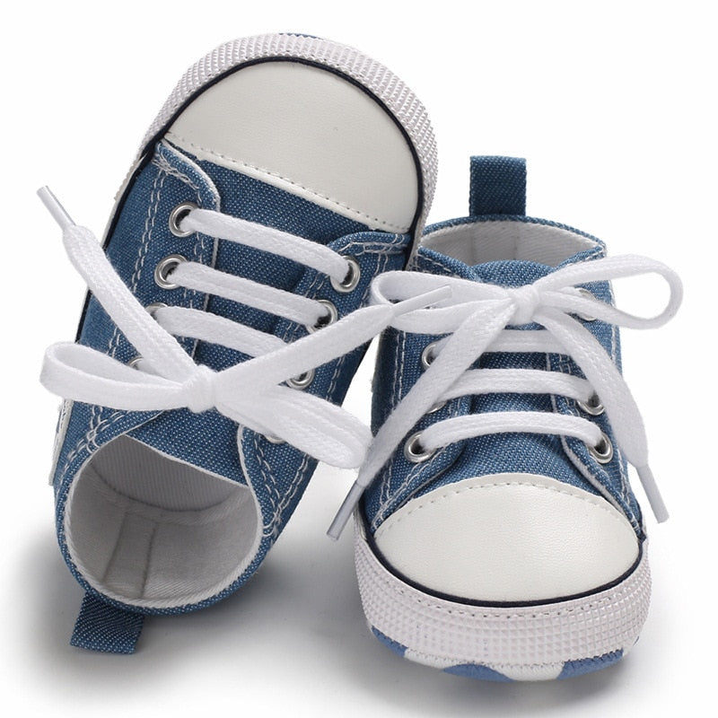 Cute Canvas Baby/Newborn Sports Sneakers Shoes with Soft Anti-slip Sole.