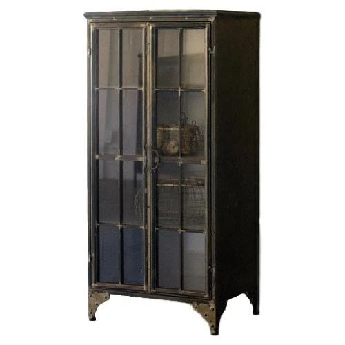 Kalalou Iron & Glass Two Door Apothecary Cabinet