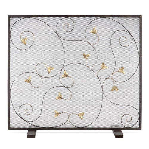 Acanthus Leaf Iron Fireplace Screen-Iron Home Concepts