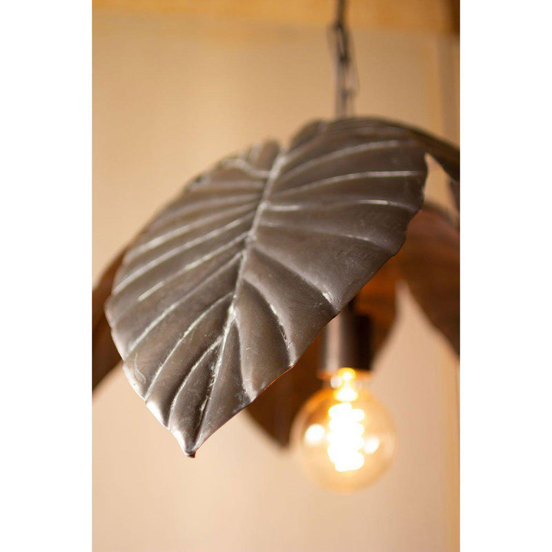 Antique Brass Tropical Leaves Pendant Light-Iron Home Concepts