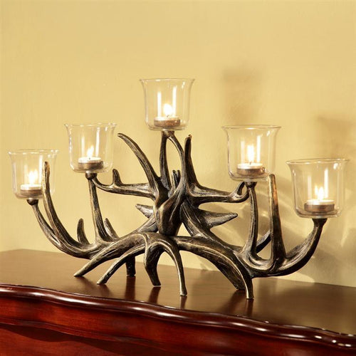 Antler Votive Candelabra-Iron Home Concepts
