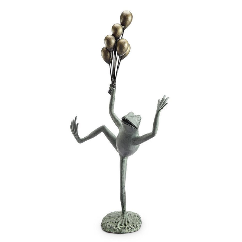 Balloon Seller Frog Garden Sculpture-Iron Home Concepts