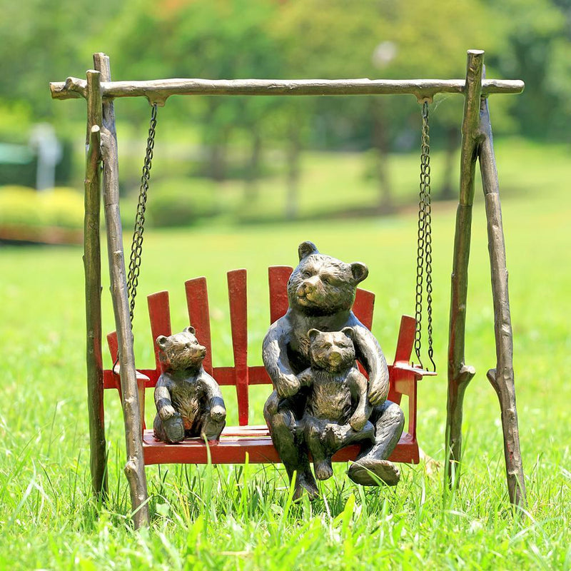 Bear and Cubs on Porch Swing Garden Decor-Iron Home Concepts
