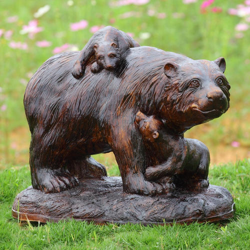 Bear With Cubs Playtime Garden Sculpture-Iron Home Concepts