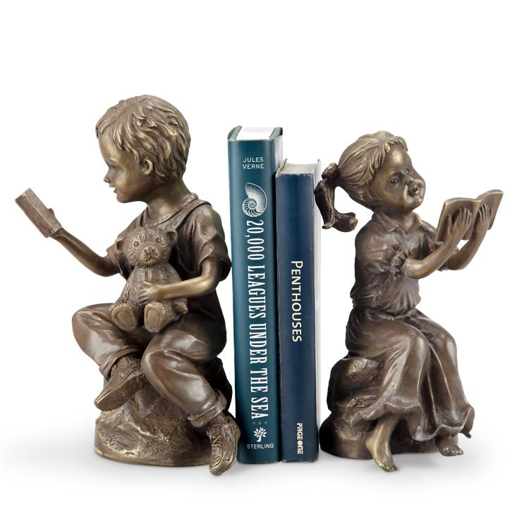 Bedtime Story Boy and Girl Bookends-Iron Home Concepts