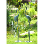 Contemplative Garden Crane Pair Statue-Iron Home Concepts