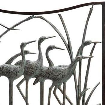 Crane Flock Three Panel Fireplace Screen-Iron Home Concepts