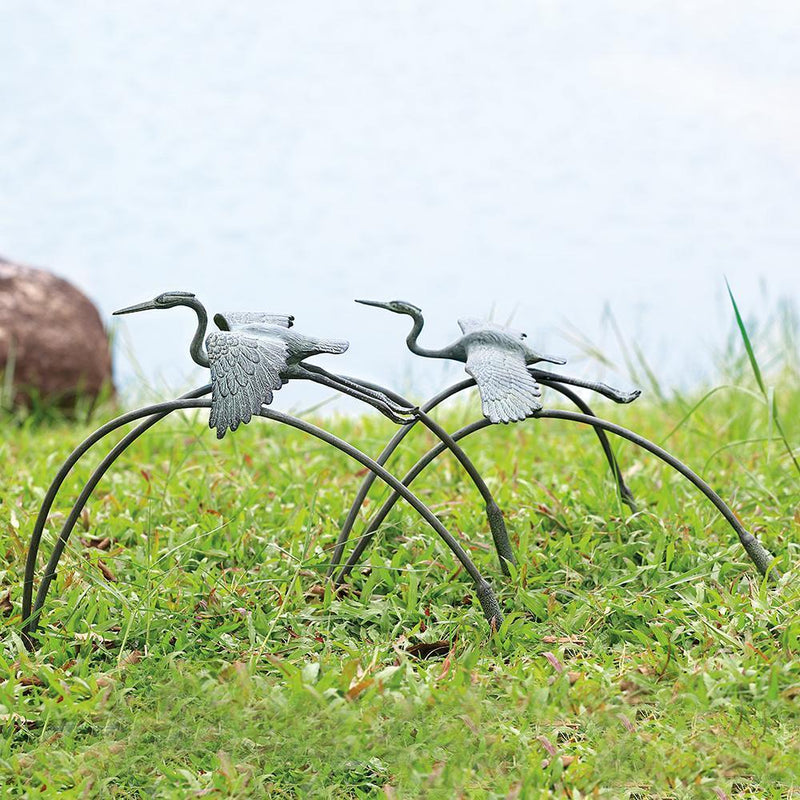 Cranes and Reeds Garden Pair Sculptures-Iron Home Concepts