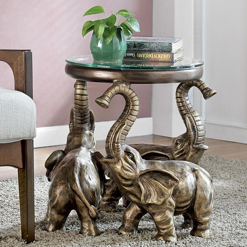 Elephant Trio End Table With Glass Top-Iron Home Concepts