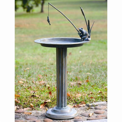 Fishing Frog Sundial Birdbath-Iron Home Concepts