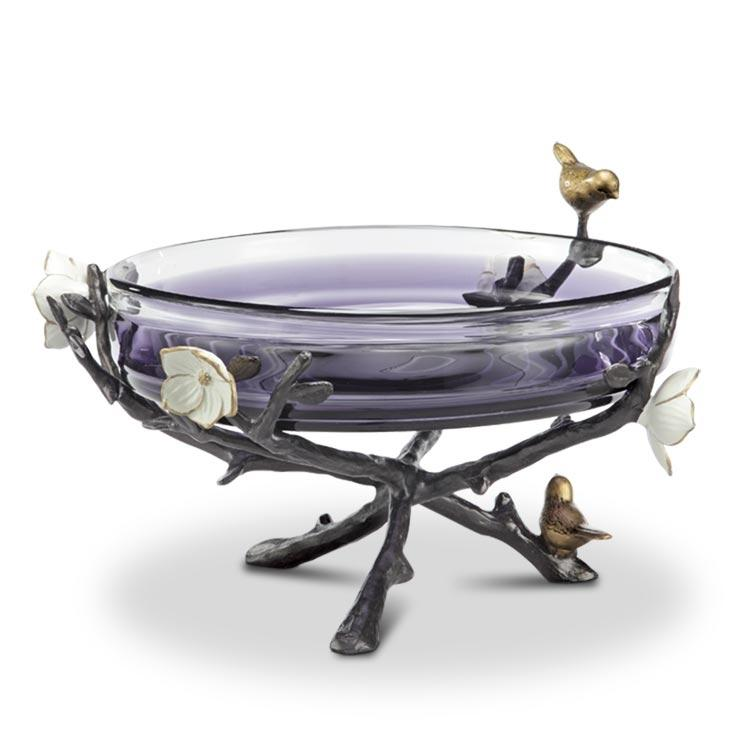 Flower and Bird Bowl Holder With Glass Bowl-Iron Home Concepts