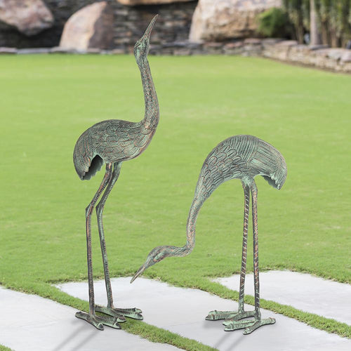 Foraging Cranes Statue Set-Iron Home Concepts