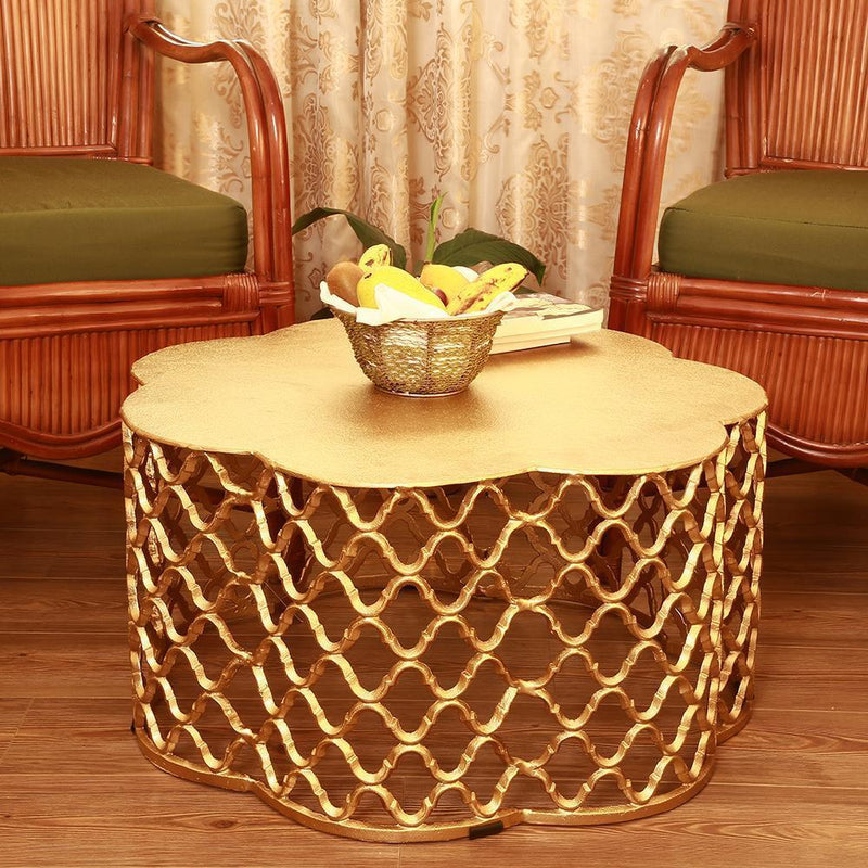 Gold Honeycomb Pattern Gold End Cocktail Table-Iron Home Concepts