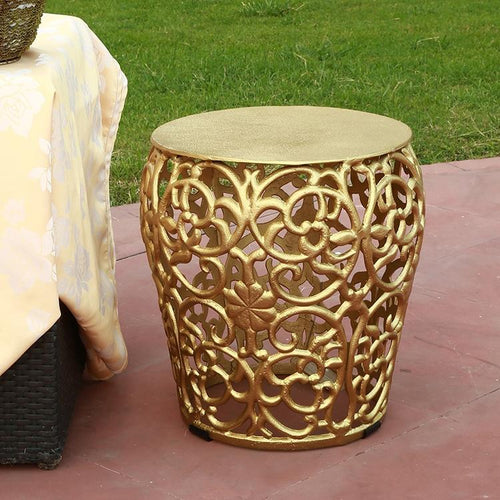 Gold Scroll & Leaf Lattice Pattern Garde Side End Table-Iron Home Concepts